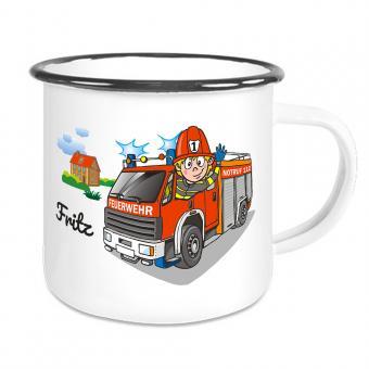 Kinder Emaille-Tasse mit Feuerwehrauto und Namen