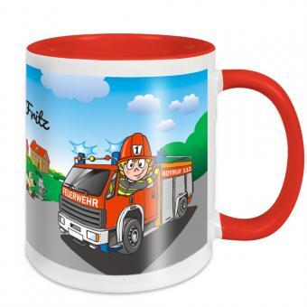 Persönliche Tasse für Jungs - Feuerwehrauto mit Namen