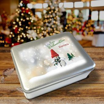 Weihnachts-Gebäckdose mit Schneemann und Namen