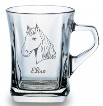 Glastasse für Tee oder Kaffee mit Pferdemotiv und Namensgravur
