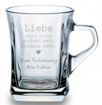 Glastasse für Kaffee oder Tee Liebe muss nicht...mit Deinem Wunschtext