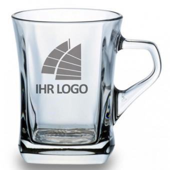 Glühweinbecher Glas mit Logo gravieren