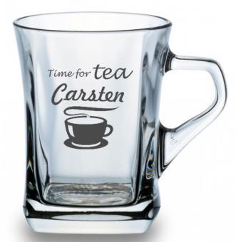 Glastasse für Tee mit Gravur