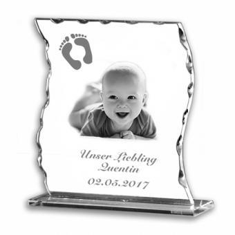 Glasfoto Wellenschliff geschwungen mit Gravur Baby