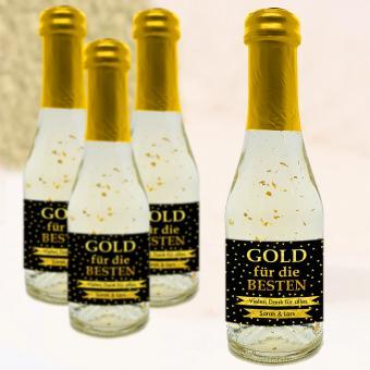 """Piccolo Sektflasche bedruckt """"Gold für die Besten"""" mit eigenem Etikett"""