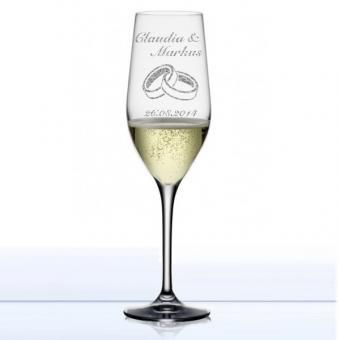 Sektglas zur Hochzeit graviert