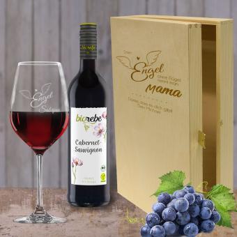 Wein  Geschenkset Rotwein mit Namen - Engel ohne Flügel