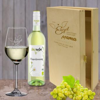 Wein Geschenkset Weißwein mit Namen - Engel ohne Flügel