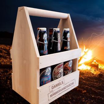 Biergeschenk - Männerhandtasche mit 6 Sorten Bier und individueller Gravur