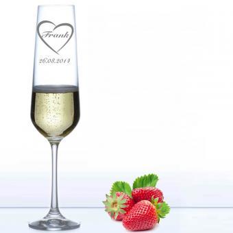 Sektglas für Verliebte - Heartbeat