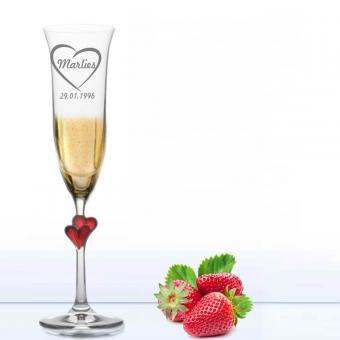 Stölzle L Amour Sekt Glas mit Motiv  - Heartbeat