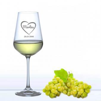 Gläser mit Gravur - individuelles Weinglas - Weißwein Heartbeat