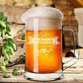 personalisierter Bierkrug / Bierseidel mit Namen für Geniesser
