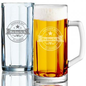 persönliches Bierseidel graviert 0,5l HEINRICH I.