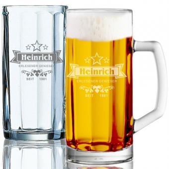 Bierseidel gravieren 0,5l HEINRICH II