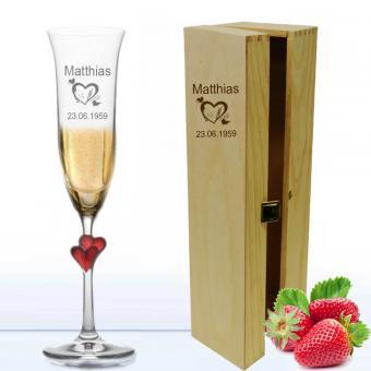 Sektglas *Amor* in Holzkiste