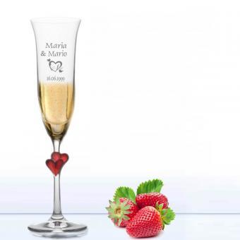 Sektglas mit Gravur L Amour Herzen