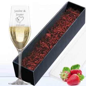 Sektglas mit Gravur in Geschenkverpackung