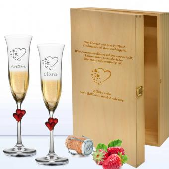 Sekt Geschenkset mit Holzkiste zur Hochzeit Hearts