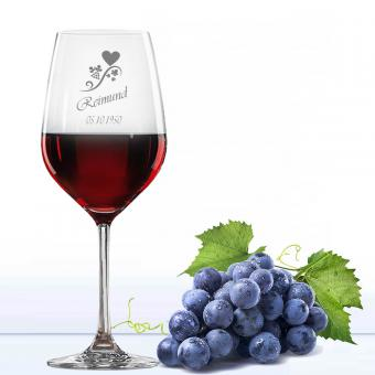 Rotweinglas mit Namen graviert
