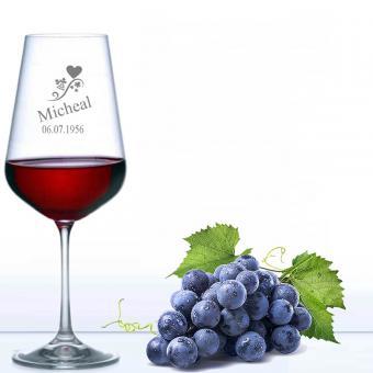 graviertes Rotweinglas mit Namen