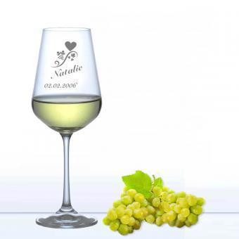 Weißweinglas graviert