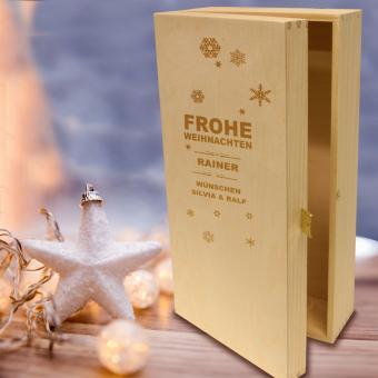 Präsentkassette Holz für Weihnachts-Geschenke 2er