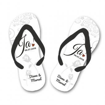 Hochzeits- Flip Flops personalisiert 44-46