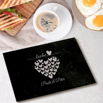 Schieferbrettchen Frühstück mit Herzen graviert