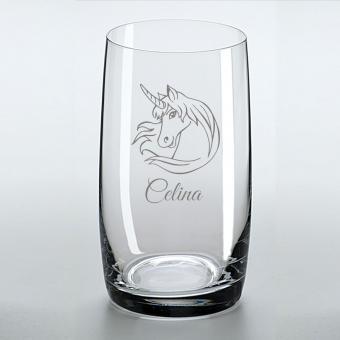 Saftglas mit schönem Einhorn und graviertem Namen