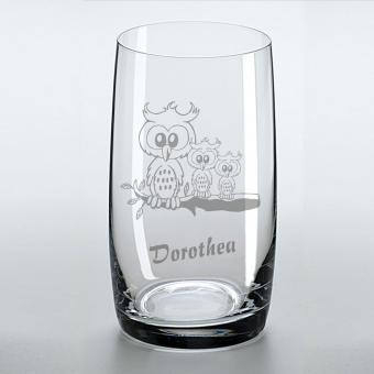 Saftglas mit schönem Eulenmotiv und graviertem Namen