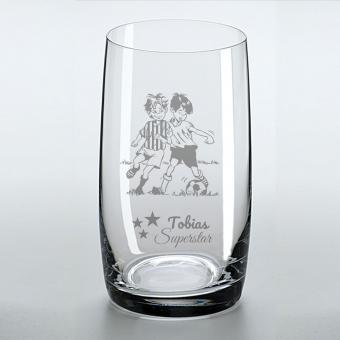 Saftglas mit schönem Fußballermotiv und graviertem Namen