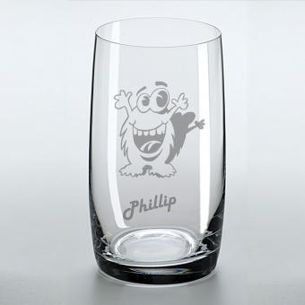 Saftglas mit lustigem Monster und graviertem Namen