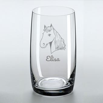 Saftglas mit Pferdemotiv und Namen personalisiert