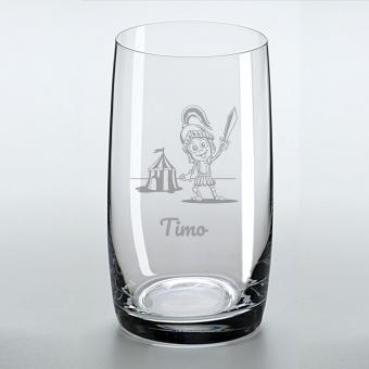 Saftglas mit schönem Rittermotiv und graviertem Namen