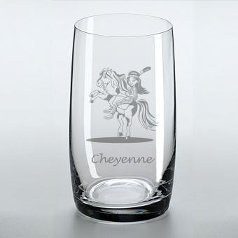 Saftglas mit schönem Indianermotiv und graviertem Namen