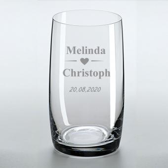 Trinkglas mit Ihren Namen und Datum graviert