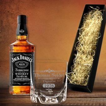 Graviertes Whisky Geschenkset Jack Daniel´s in edler Geschenkverpackung