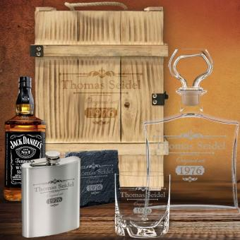 All in One Whisky Geschenk-Set in 3er Holzbox mit Jack Daniel´s