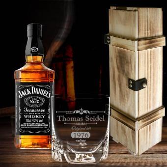 Whisky Geschenkset Jack Daniel´s in edler Holzbox mit Gravur