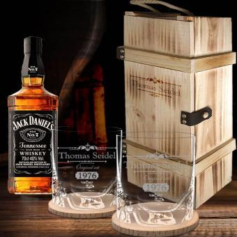 Whisky Set Jack Daniel´s in 2er Holzbox graviert