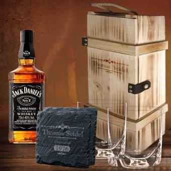 Jack Daniel´s Whisky Set personalisiert in 2er Holzbox