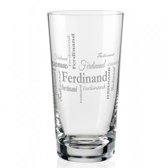 Longdrink Glas mit Namen in verschiedenen Schriftarten