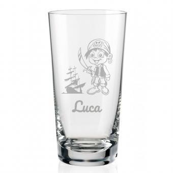 Schönes Saftglas mit Piratenmotiv und Namen graviert