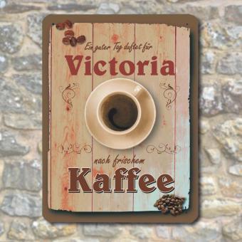 Blechschild Vintage Kaffee mit Namen bedrucken Größe 20 x 30 cm