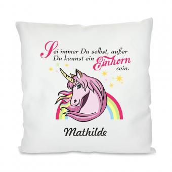 Unicorn Kissen mit Spruch und Namen