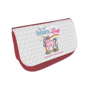 Unicorn Kosmetiktasche mit Namen bedruckt
