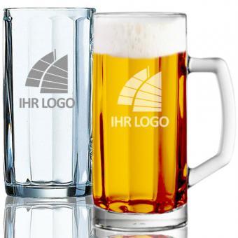 Bierkrug, Bierseidel mit Logo Gravur 0,5l