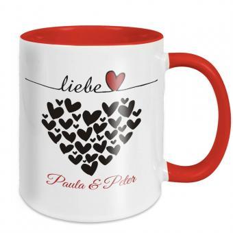 Tasse für Paare - Liebe Herzen - mit Namen -  rot