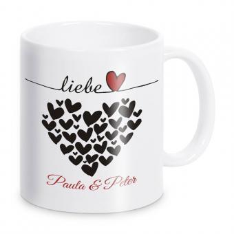 Tasse für Paare Liebe Herzen - mit Namen -  weiß